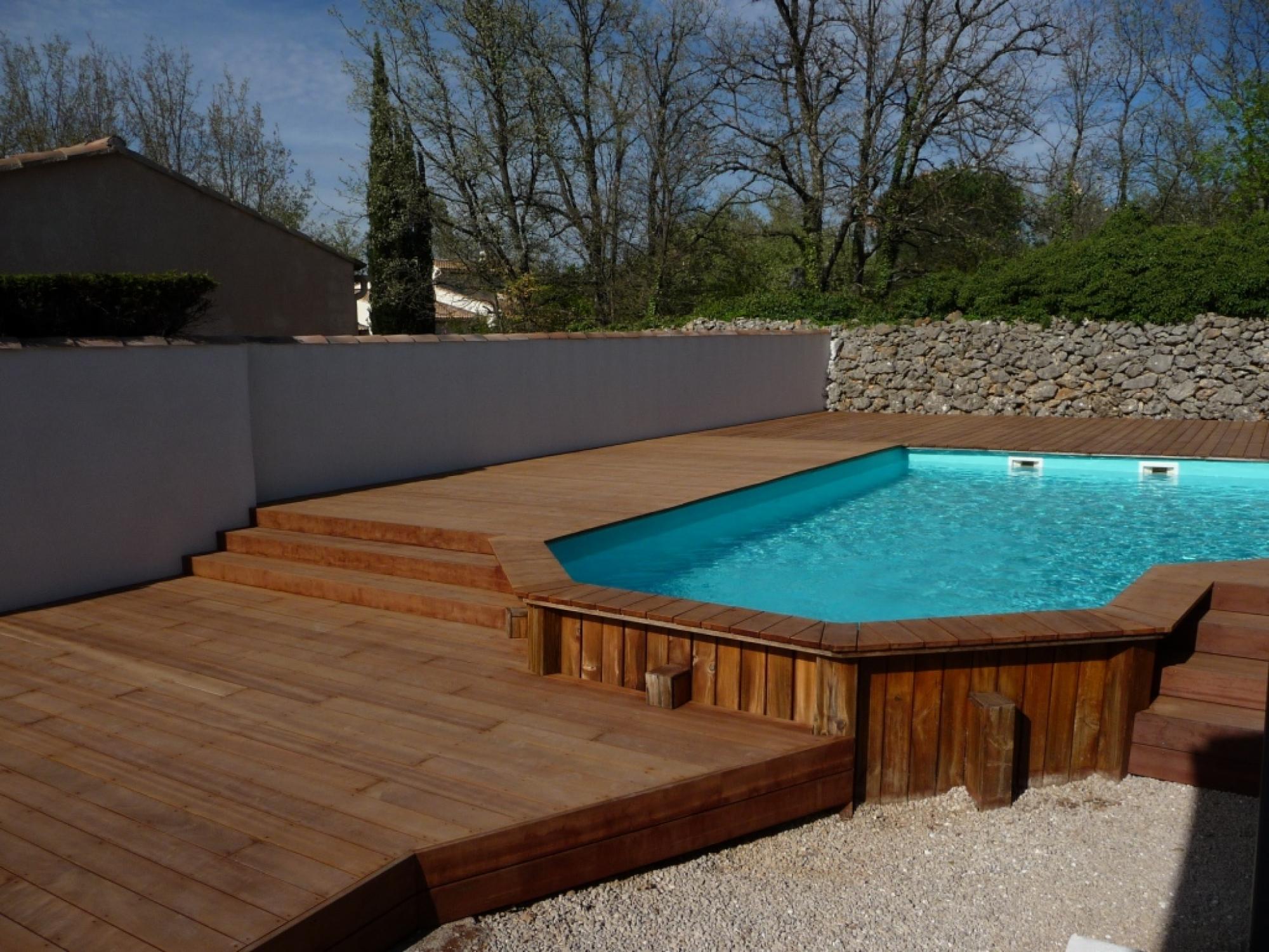 habillage bois d 39 une piscine semi enterr e vente et pose. Black Bedroom Furniture Sets. Home Design Ideas